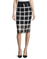 Milly Plaid Organza Pencil Midi Skirt Black White