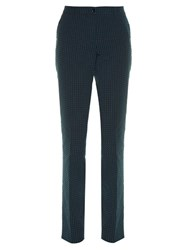 Etro Dot Jacquard Straight Leg Trousers Blue Multi