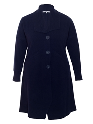 Chesca Ribbed Collar Boiled Wool Coat Navy