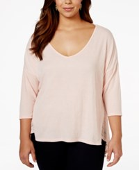 Jessica Simpson Plus Size V Neck High Low Sweater Coral Blush