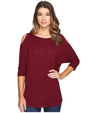 Michael Stars Lycra Jersey 3 4 Sleeve Cold Shoulder Tunic Pinot Noir Women's Long Sleeve Pullover Burgundy