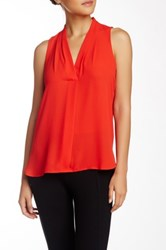 Vince Camuto Pleated V Neck Hi Lo Tank Petite Red