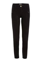 Current Elliott Skinny Suede Pants Black