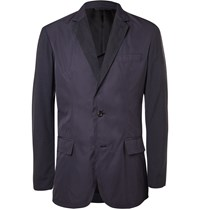 Marvy Jamoke Navy Slim Fit Panelled Shell And Wool Blend Blazer Blue