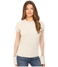See By Chloe Knit Pullover With Sheer Sleeves Aspen Light Grey Women's Long Sleeve Pullover Pink