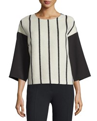 Cnc Costume National 3 4 Sleeve Striped Front Shirt Black White Women's