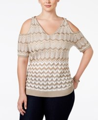 Inc International Concepts Plus Size Printed Cold Shoulder Sweater Only At Macy's White