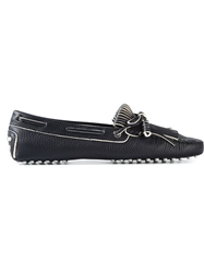 Tod's 'Gommino' Fringed Bow Loafers Blue