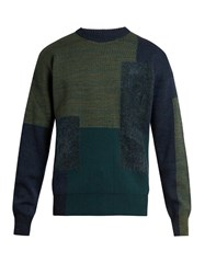 Oamc Paneled Wool Blend Crew Neck Sweater Green Multi