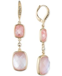 Judith Jack 10K Gold Plated Sterling Silver Pink Crystal And Marcasite Double Drop Earrings