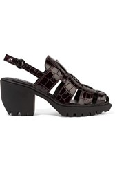 Opening Ceremony Croc Effect Patent Leather Sandals Merlot