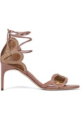 Brian Atwood Gabriela Eyelet Embellished Leather Sandals Tan