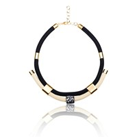 Iris Handmade Statement Collar Necklace Black Gold Nude