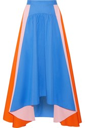 Peter Pilotto Asymmetric Cotton Poplin Skirt Bright Blue