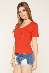 Forever 21 Srsly Graphic Pocket V Neck Tee