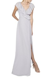 Ceremony By Joanna August Women's 'Lolo' Ruffle V Neck Chiffon Wrap Gown Silver Bells
