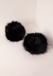 Missguided Faux Fur Cuffs Black