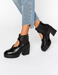 Kat Maconie Zula Black Leather Cut Out Embellished Heeled Ankle Boots Black