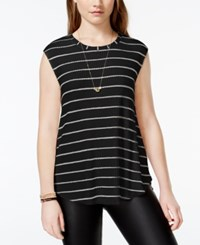 One Clothing Juniors' Striped Waffle Knit Tank Top Black Taupe