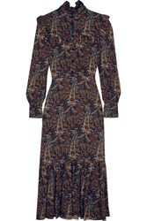 Saint Laurent Ruffled Paisley Print Crepe Midi Dress Brown