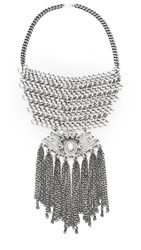 Laura Cantu Embellished Statement Necklace Silver