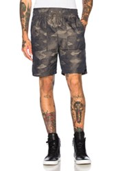 Helmut Lang Jacquard Camo Shorts In Green Brown Abstract