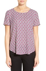 Pleione Women's Pleat Back Woven Print Top Off White Grey Soft Grape