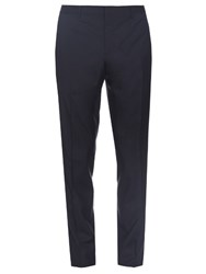 Burberry Straight Leg Wool And Silk Blend Trousers Navy