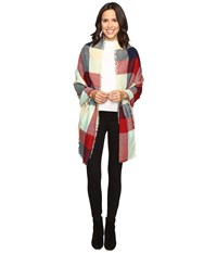 Michael Stars Reversible Double Trouble Plaid Wrap Heart Women's Clothing Red