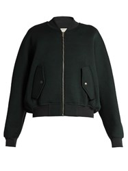 Balenciaga Wool Blend Jersey Bomber Jacket Green