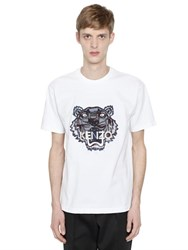 Kenzo Tiger Embroidered Cotton Jersey T Shirt