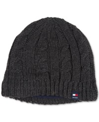 Tommy Hilfiger Fleece Lined Cable Beanie Charcoal