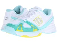 Wilson Rush Evo White Aruba Blue Yellow Women's Tennis Shoes