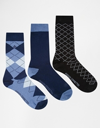 French Connection 3 Pack Socks Blue
