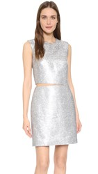 Kaufman Franco Liquid Sequin Cocktail Dress Aluminum