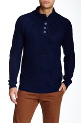 Yoki 3 4 High Collar Button Down Pullover Blue