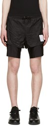 Satisfy Black Layered Long Distance 8' Shorts