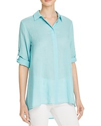 Chaus Roll Tab High Low Shirt Compare At 69 Blue Frost