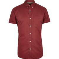 River Island Mens Red Twill Short Sleeve Shirt