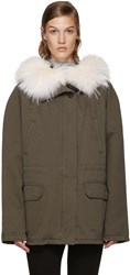 Army By Yves Salomon Green Short Classic Parka