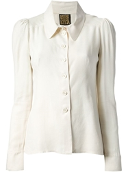 Biba Vintage Oversize Collar Blouse Nude And Neutrals