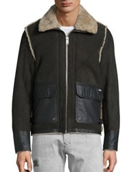 Diesel Shearling And Lambskin Leather Foot Jacket Grey