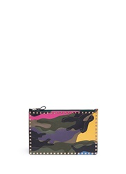 Valentino Camouflage Print Leather Canvas Flat Zip Pouch Multi Colour
