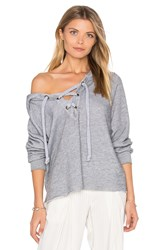 Wildfox Couture Lace Up Hoodie Gray