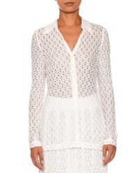 Missoni Knit Long Sleeve Blouse White