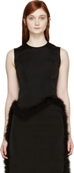 Simone Rocha Black Feather Trimmed Top
