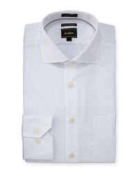 Neiman Marcus Classic Fit Textured Dress Shirt White