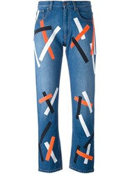 Christopher Kane Printed Bolster Jeans Blue
