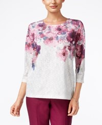 Alfred Dunner Veneto Valley Collection Floral Print Textured Top Multi