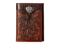 Ariat Tooled Tri Fold Wallet With Gator Tab And Logo Concho Brown Wallet Handbags